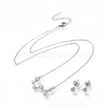 304 Stainless Steel Jewelry Sets, Brass Micro Pave Cubic Zirconia Pendant Necklaces and 304 Stainless Steel Stud Earrings, with Ear Nuts/Earring Back, Twelve Constellations, Clear, Scorpio, 465x1.5mm(X-SJEW-F211-01C-P)