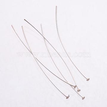Sterling Silver Flat Head Pins, Silver, 44~45x0.3mm, Head: 1.5mm(X-STER-K017-45mm-S)