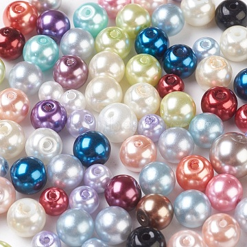 Glass Pearl Beads, Round, Mixed Color, 3~16mm, Hole: 1~1.6mm; about 200pcs/100g(HY-XCP0002-01)