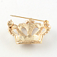 Crown Women's Light Gold Plated Alloy Rhinestone Brooches(X-JEWB-R011-13)-3