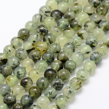 Natural Prehnite Beads Strands, Round, Grade AB, 8mm, Hole: 1mm, about 50pcs/strand, 15.3 inches(39cm)(X-G-P322-48-8mm)