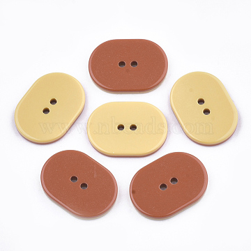 2-Hole Resin Buttons, Oval, Chocolate, 26x19x3mm, Hole: 2mm(RESI-T022-12B)