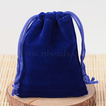 Rectangle Velvet Pouches, Gift Bags, Dark Blue, 15x10cm(TP-R002-10x15-03)