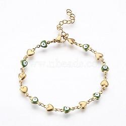 """Bracelets avec chaîne de lien en 304 acier inoxydable, avec l'émail et le homard fermoirs pince, coeur avec le mauvais œil, verte, 7-1/4"""" (18.5 cm)(BJEW-P236-30G-03)"""