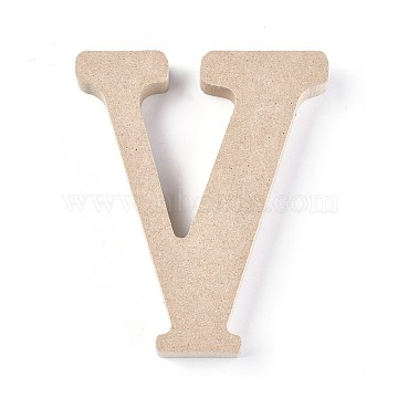 Letter Unfinished Wood Slices, Laser Cut Wood Shapes, for DIY Painting Ornament Christmas Home Decor Pendants, Letter.V, 100x83x15mm(DIY-WH0162-62V)