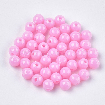 Opaque Plastic Beads, Round, Pink, 6x5.5mm, Hole: 1.8mm(X-KY-T005-6mm-602)
