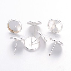 Boucles d'oreilles en laiton couleur argent, sans nickel, longueur d'environ 14 mm ,  largeur de 12 mm, pin: 1 mm, Plateau: 10 mm de diamètre intérieur(X-IFIN-Q006-10mm-S-NF)