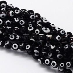 """Chapelets de perle rondes au mauvais œil manuelles, noir, 10mm, trou: 1mm; environ 39 pcs/chapelet, 14.96""""(LAMP-L055-10mm-08)"""