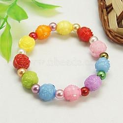 Bracelets extensibles à la mode pour enfants, avec de l'acrylique perle des perles d'imitation et de perles de fleurs colorées acryliques, colorées, 45mm(BJEW-JB00676-09)