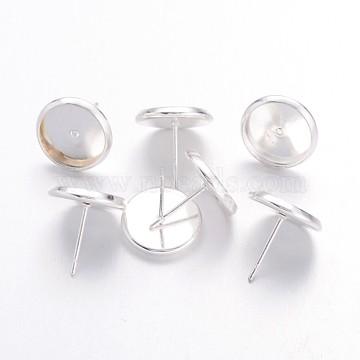 boucles d'oreilles en laiton plaqué couleur argent, sans nickel, sur 14 mm de long, 12 mm de large, pin: 1 mm, Plateau: 10 mm de diamètre intérieur(X-IFIN-Q006-10mm-S-NF)