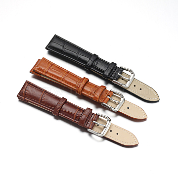 Leather Watch Bands, with 304 Stainless Steel Clasps, Mixed Color, 94~125x19x4~4.5mm(WACH-F017-08)