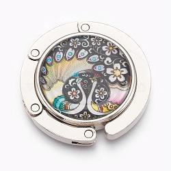 крючки вешалки мешка сплава цинка, с раковинами и стеклом, плоский круг с краном, платина, красочный, 44x9 mm(BAGH-WH0001-A05)