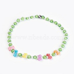 Acrylic Beads Kids Necklaces, with Natural Agate Beads, Bowknot & Heart & Round, Green, 19.29inches(49cm)(NJEW-JN02235-05)