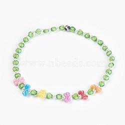 """Acryliques perles de colliers d'enfants, avec des perles en agate, bowknot & coeur & rond, verte, 19.29"""" (49 cm)(NJEW-JN02235-05)"""