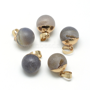 Natural Druzy Grey Agate Pendants, with Brass Findings, Round, Frosted, Round, Golden, 18x14mm, Hole: 7x4mm(X-G-Q494-06G)