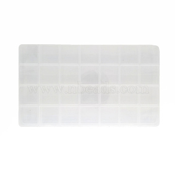 28 Grids Transparent Polypropylene(PP) Bead Organizers, for Beads, Jewelry, Nail Art, Small Items, Clear, 22x12.9x2.1cm(X-CON-J003-03)