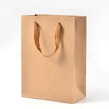 Rectangle Kraft Paper Bags with Handle, Retail Shopping Bag, Brown Paper Bag, Merchandise Bag, Gift, Party Bag, with Nylon Cord Handles, BurlyWood, 16x12x5.7cm(AJEW-L048A-02)