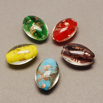 Handmade Gold Sand Lampwork Beads, Oval, Mixed Color, 26x17x10mm, Hole: 2mm(X-LAMP-R104-M)