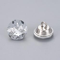 boutons de rhinestone, avec les conclusions de fer, 1-trou, plat rond, platine, cristal, 16x12.5 mm, trou: 3.5 mm(BUTT-WH0014-04A)