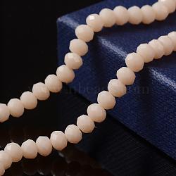 1 brin opaque opaque de couleur de peachpuff massif, cristal de verre à facettes, rondelle, 4x3 mm, trou: 1 mm; environ 114 perle / brin, 15(X-EGLA-F050A-08)