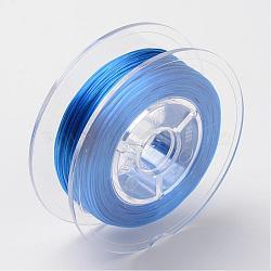 Chaîne de cristal élastique plate teinte à l'environnement japonaise, fil de perles élastique, pour la fabrication de bracelets élastiques, plat, bleu, 0.6mm; Environ 60 m / rouleau (65.62 heures / rouleau)(EW-F005-0.6mm-05)