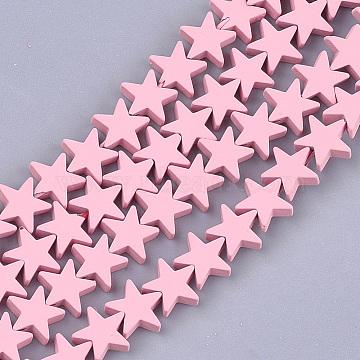 brins de perles d'hématite synthétiques non magnétiques peints par pulvérisation, étoiles, rose, 8x8x2.5 mm, trou: 0.8 mm; environ 64 perle / brin, 15.5(X-G-T116-21-05)