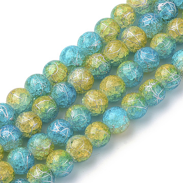 Drawbench Synthetic Crackle Quartz Beads Strands, Two Tone Style, Round, Colorful, 8mm, Hole: 1mm; about 50pcs/strand, 15.7''(X-GLAA-S139-8mm-05)