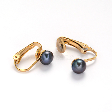 Golden Tone 304 Stainless Steel Freshwater Pearl Clip-on Earrings, MidnightBlue, 16x4x14mm(EJEW-M188-09A)