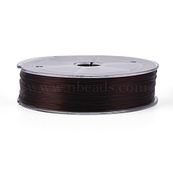 Flat Elastic Crystal String, Elastic Beading Thread, for Stretch Bracelet Making, Coffee, 0.8mm; about 100m/roll(EW-WH0002-01D)