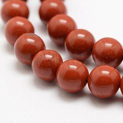 rouge naturel perles de jaspe brins, AA grade, arrondir, 4 mm, trou: 0.8 mm; environ 95 perle / brin, 15.5 (39 cm)(X-G-E375-4mm-02)