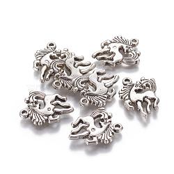 пластмассовые подвески ccb, лошадь, Старинное серебро, 26.5x21.3x3.8 mm, отверстия: 1.8 mm(CCB-L006-36AS)