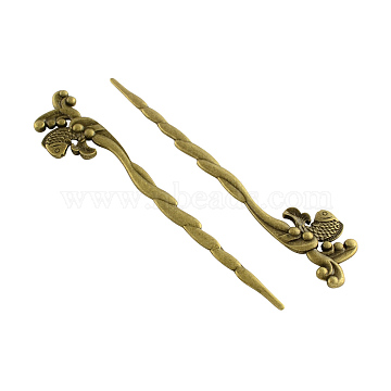 Tibetan Style Hair Accessories Alloy Hair Stick Findings, Cadmium Free & Nickel Free & Lead Free, Antique Bronze, 128x23x5mm; about 76pcs/1000g(TIBE-Q035-031AB-NR)