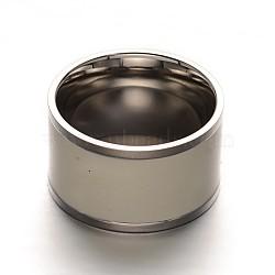 Anneaux de doigt pour hommes en acier inoxydable à bande large personnalisés 304, taille 7, couleur inoxydable, 17mm(X-RJEW-L048-22-17mm)
