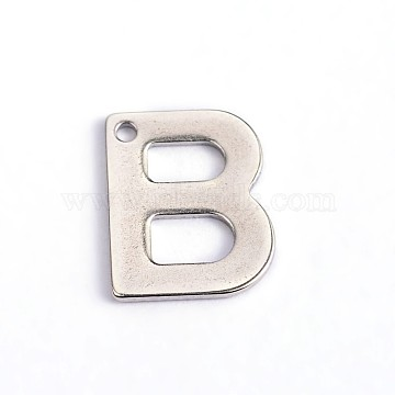 304 Stainless Steel Letter Charms, Letter.B, 11x9x0.8mm, Hole: 1mm(X-STAS-O072-B)