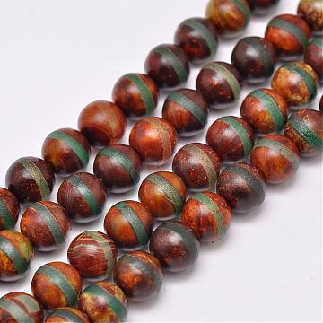 8mm Round Tibetan Agate Beads