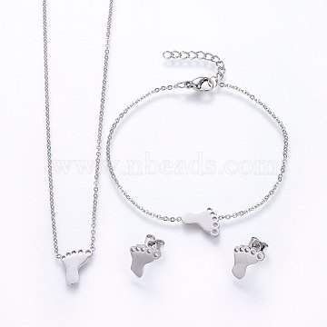 304 Stainless Steel Jewelry Sets, Pendant Necklaces & Stud Earrings & Bracelets, Feet, Stainless Steel Color, 16.54 inches(42cm); 7-1/8 inches(18cm); 13x11x1.2mm; Pin: 0.8mm(SJEW-H138-04P)