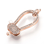 Brass Micro Pave Cubic Zirconia Lobster Claw Clasps, Rose Gold, 40x17x6.5mm, Hole: 1~1.5mm