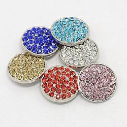 Platine environnement de grade A en alliage de zinc strass plat bijoux ronde boutons pression, sans plomb et sans nickel, couleur mixte, 20x6 mm; bouton: 5 mm(SNAP-M052-M-FF)