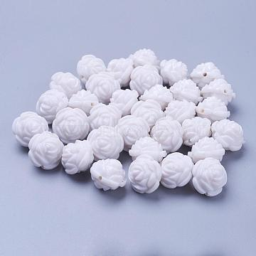 16mm White Flower Acrylic Beads