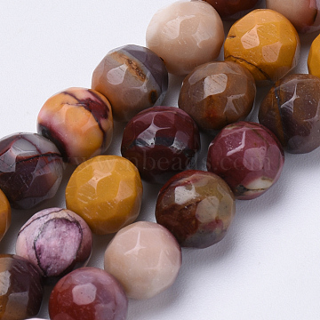 Natural Mookaite Beads Strands, Faceted, Round, 6mm, Hole: 1mm; about 62pcs/strand, 15.3inches(G-S281-02-6mm)