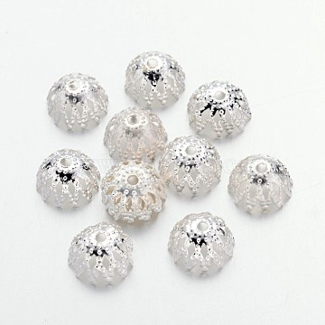 Iron Bead Caps, Multi-Petal, Silver Color Plated, 8x4mm, about 81pcs/10g(X-IFIN-D044-8x4-S)