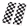Opaque Resin Cabochons, Two Tone, Rectangle with Chessboard Pattern, Black, 62x19x2mm