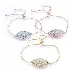 """Bracelets réglables en laiton à micro-pavé de zircons cubiques, Bracelets coulissants, oeil de cheval, colorées, couleur mixte, 10-7/8"""" (27.5cm); 1.2mm(BJEW-H583-10)"""