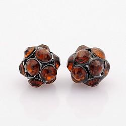 Plaqué gris anthracite perles de strass de fer, rond et creux, café, 8mm, Trou: 1mm(RB-J488-15B)