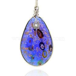 Main en verre de feuille grands pendentifs, sable d'or et millefiori, avec les accessoires en laiton de tonalité de platine, déposer collier gros pendentifs, bleu royal, 75x42x7mm, Trou: 4x5mm(PALLOY-J355-01)
