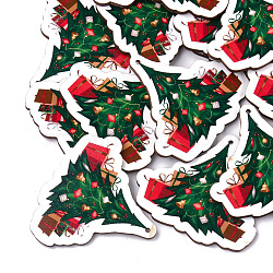 Printed Basswood Big Pendants, Christmas Trees, Green, 57x62.5x3mm, Hole: 1.8mm