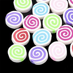 main en pate polymère cabochons, plat rond avec vortex, couleur mélangée, 15~16.5x5 mm(X-CLAY-T013-13)