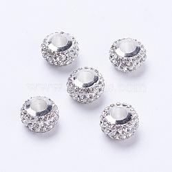 polymère de grade d'argile un strass perles européennes, avec des noyaux de cuivre, plaqué argent, grandes perles de trou, rondelle, cristal, 11~12x7.5~8 mm, trou: 5 mm(CPDL-J039-S01)