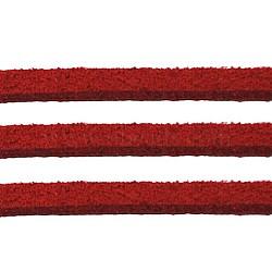 Ton rouge daim cordon, dentelle de faux suède, environ 1 m de long,  largeur de 2.5 mm, environ 1.4 mm d'épaisseur, 1 m / chapelet(X-LW14187Y)