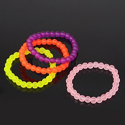Stretchy Frosted Glass Beads Kids Bracelets for Children's Day, Mixed Color, 42mm(BJEW-JB01768)